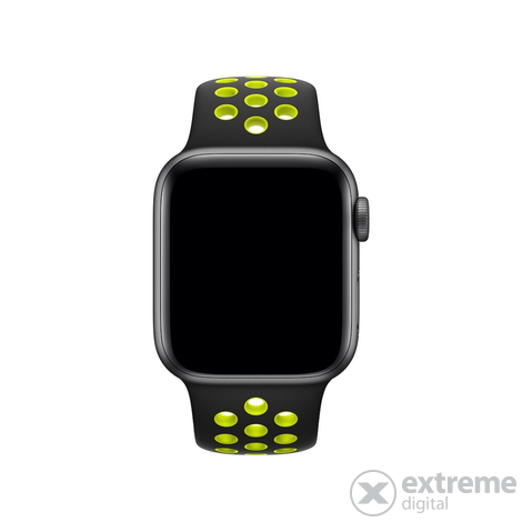 Apple Watch 40mm S/M & M/L (mtmn2zm/a)  Nike sportszíj, fekete/neon zöld