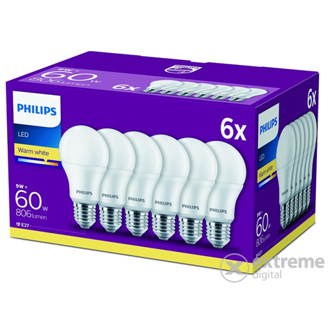 Philips 60W E27 806lm LED-es villanykörte, 6db