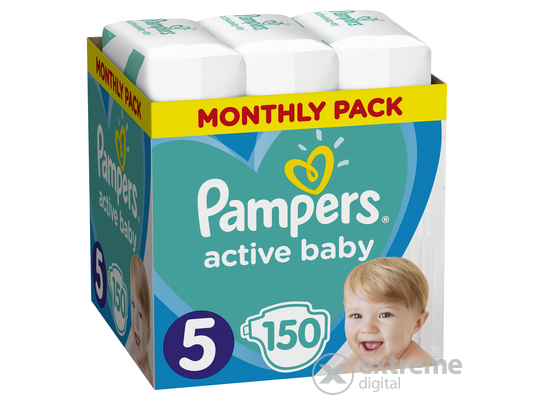 Pampers Active Baby pelenka Monthly Box, 5-ös méret, 150 db