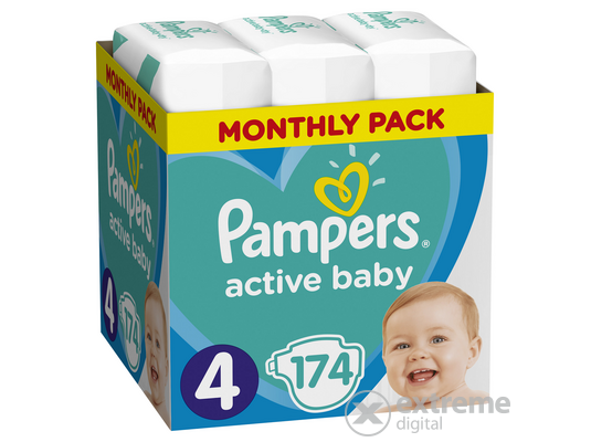 Pampers Active Baby pelenka Monthly Box, 4-es méret, 174 db