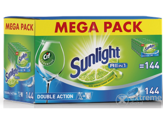 Sunlight All in 1 MEGA PACK gépi mosogató tabletta, 144 db
