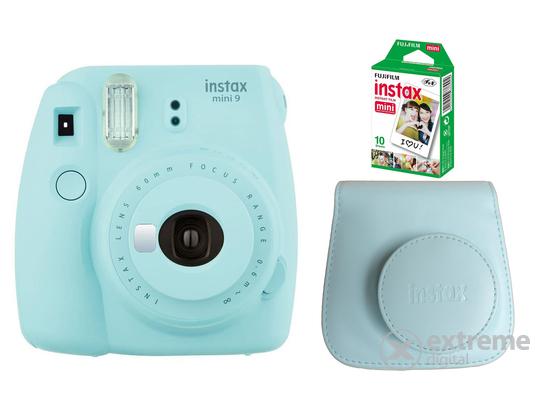 Fujifilm Instax Mini 9 analóg fényképezőgép, ice blue + tok + 10db film